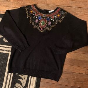 Vintage 80s rhinestone bejeweled sweater